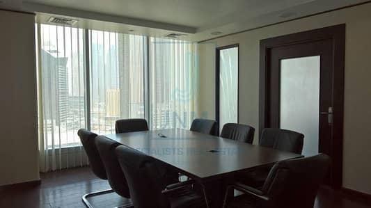 مکتب  للايجار في أبراج بحيرات جميرا، دبي - Corner Fitted And Furnished Office In Saba 1