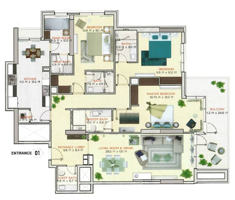 10 Brand New | Big 3 Bed Plus Maids | Vacant