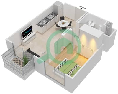 المخططات الطابقية لتصميم الوحدة 9,20 شقة 1 غرفة نوم - كولكتيف