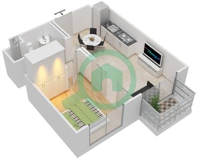 المخططات الطابقية لتصميم الوحدة 4 شقة 1 غرفة نوم - كولكتيف