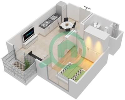 المخططات الطابقية لتصميم الوحدة 8 شقة 1 غرفة نوم - كولكتيف