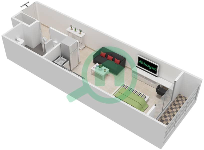 La Residence - Studio Apartment Unit 109-309 Floor plan Floor 1 image3D
