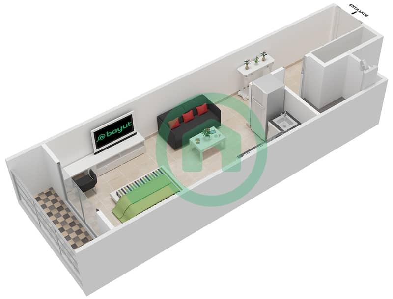 La Residence - Studio Apartment Unit 110-310 Floor plan Floor 1 image3D