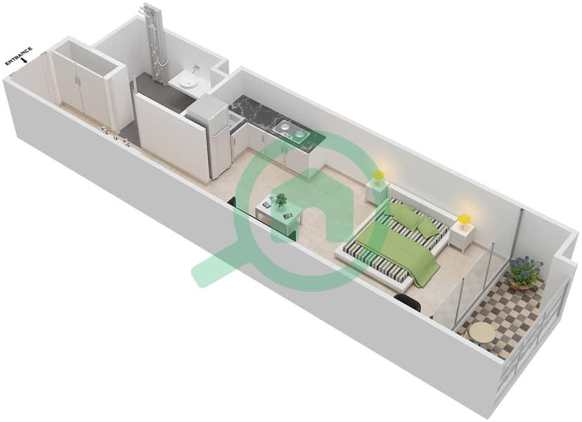La Residence - Studio Apartment Unit 120-320 Floor plan Floor 1 image3D