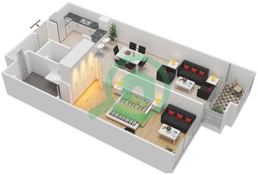 المخططات الطابقية لتصميم الوحدة 104-304 شقة 1 غرفة نوم - لا ريزيدينس Floor 1 image3D