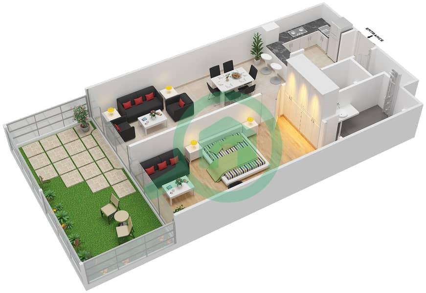 La Residence - 1 Bedroom Apartment Unit 5 Floor plan Ground Floor image3D