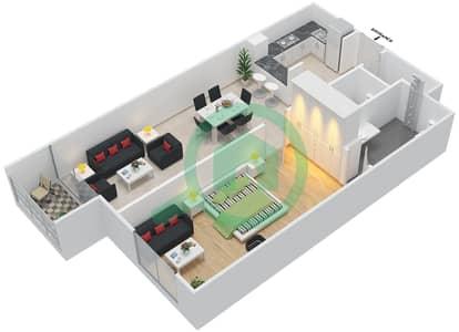La Residence - 1 Bedroom Apartment Unit 107-307 Floor plan