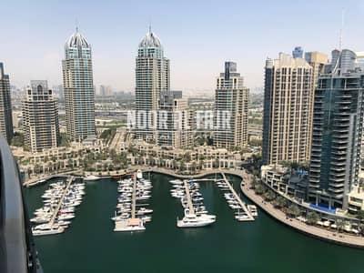 2 Bedroom Apartment for Rent in Dubai Marina, Dubai - Full marina view 2BR + Maids Room + Balcony