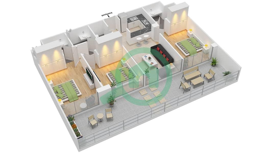La Residence - 3 Bedroom Apartment Unit 403 Floor plan Floor 4 image3D