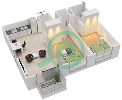 المخططات الطابقية لتصميم الوحدة 1 شقة 2 غرفة نوم - كولكتيف