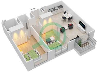 المخططات الطابقية لتصميم الوحدة 12 شقة 2 غرفة نوم - كولكتيف
