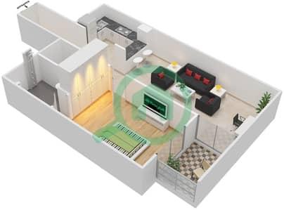 La Residence - 1 Bedroom Apartment Unit 408 Floor plan