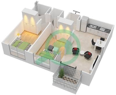 المخططات الطابقية لتصميم الوحدة 6 شقة 2 غرفة نوم - كولكتيف