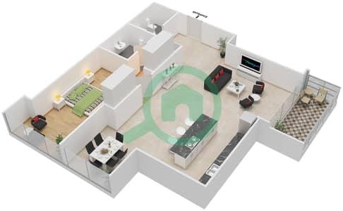 Maze Tower - 1 Bed Apartments unit 7 Floor plan