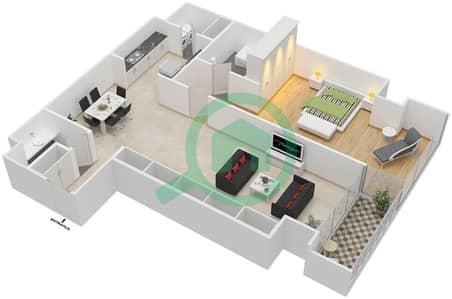 Maze Tower - 1 Bed Apartments unit 8 Floor plan