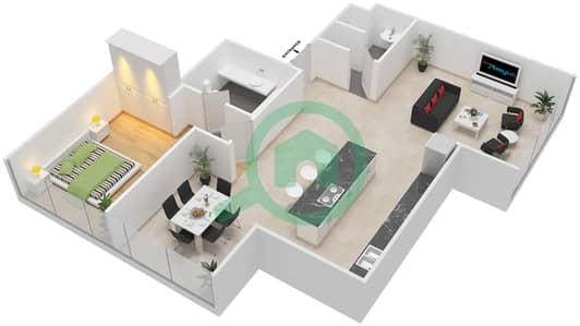 Maze Tower - 1 Bed Apartments unit 3 Floor plan