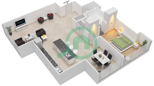 Maze Tower - 1 Bed Apartments unit 5 Floor plan