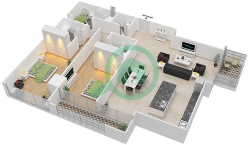 Maze Tower - 2 Beds Apartments unit 6 Floor plan