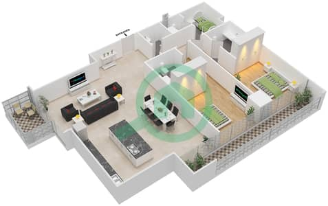 Maze Tower - 2 Beds Apartments unit 1 Floor plan