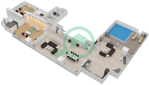 Maze Tower - 2 Beds Penthouses unit 1 Floor plan