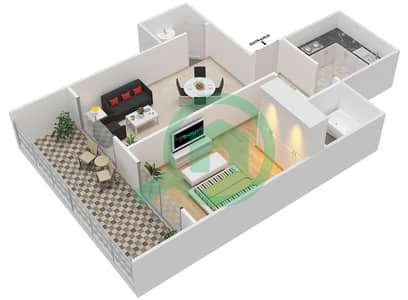 Lavender Tower - 1 Bedroom Apartment Unit 13 FLOOR 42-46 Floor plan