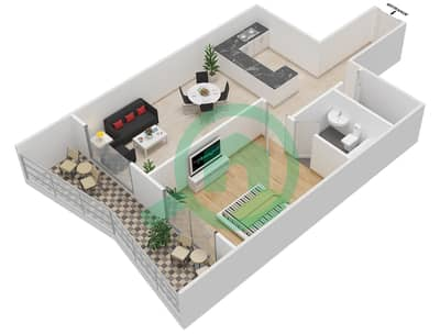 Lavender Tower - 1 Bedroom Apartment Unit 11 FLOOR 42-46 Floor plan