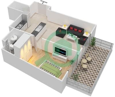 المخططات الطابقية لتصميم النموذج 1 شقة 1 غرفة نوم - عزيزي أورا