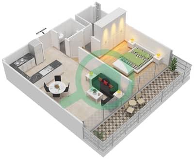 المخططات الطابقية لتصميم النموذج 2 شقة 1 غرفة نوم - عزيزي أورا
