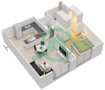 المخططات الطابقية لتصميم النموذج 3 شقة 1 غرفة نوم - عزيزي أورا