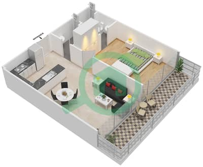 المخططات الطابقية لتصميم النموذج 4 شقة 1 غرفة نوم - عزيزي أورا