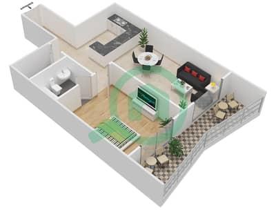 Lavender Tower - 1 Bedroom Apartment Unit 4 FLOOR 42-46 Floor plan