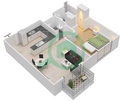 المخططات الطابقية لتصميم النموذج 6 شقة 1 غرفة نوم - عزيزي أورا