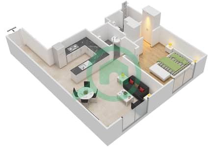 المخططات الطابقية لتصميم النموذج 7 شقة 1 غرفة نوم - عزيزي أورا