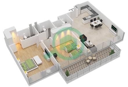 المخططات الطابقية لتصميم النموذج 2 شقة 2 غرفة نوم - عزيزي أورا