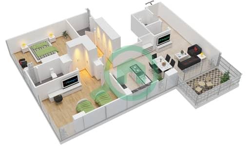 المخططات الطابقية لتصميم النموذج 3 شقة 2 غرفة نوم - عزيزي أورا