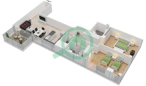 المخططات الطابقية لتصميم النموذج 4 شقة 2 غرفة نوم - عزيزي أورا