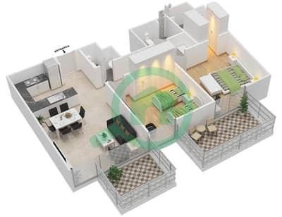 المخططات الطابقية لتصميم النموذج 5 شقة 2 غرفة نوم - عزيزي أورا
