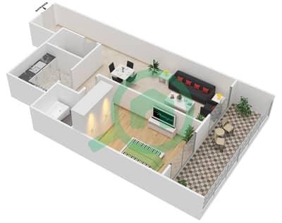 Lavender Tower - 1 Bedroom Apartment Unit 8 FLOOR 42-46 Floor plan