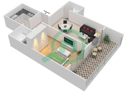 Lavender Tower - 1 Bedroom Apartment Unit 2 FLOOR 7-41 Floor plan