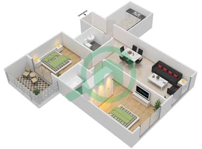 Lavender Tower - 2 Bedroom Apartment Unit 3 FLOOR 7-41 Floor plan