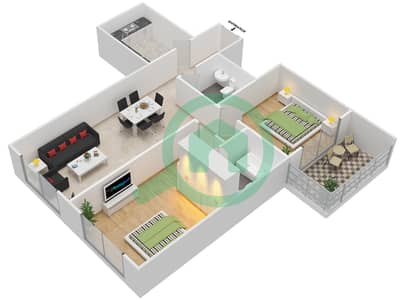 Lavender Tower - 2 Bedroom Apartment Unit 6 FLOOR 7-41 Floor plan