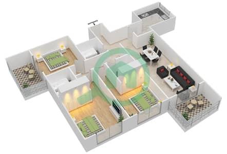 Lavender Tower - 3 Bedroom Apartment Unit 10 FLOOR 42-46 Floor plan