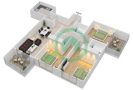 Lavender Tower - 3 Bedroom Apartment Unit 12 FLOOR 42-46 Floor plan