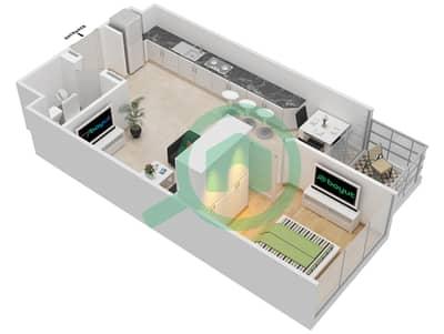 المخططات الطابقية لتصميم النموذج 1B شقة 1 غرفة نوم - عزيزي جراند
