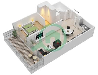 المخططات الطابقية لتصميم النموذج 2B شقة 1 غرفة نوم - عزيزي جراند