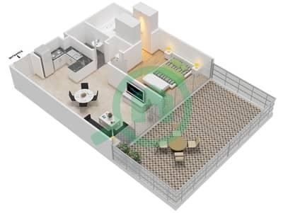 المخططات الطابقية لتصميم النموذج 3A شقة 1 غرفة نوم - عزيزي جراند