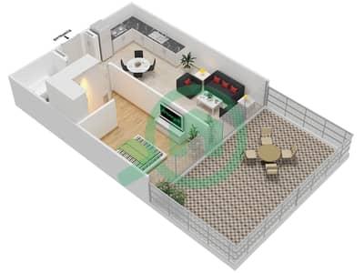 المخططات الطابقية لتصميم النموذج 2A شقة 1 غرفة نوم - عزيزي جراند