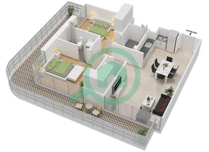 المخططات الطابقية لتصميم النموذج 1B شقة 2 غرفة نوم - عزيزي جراند
