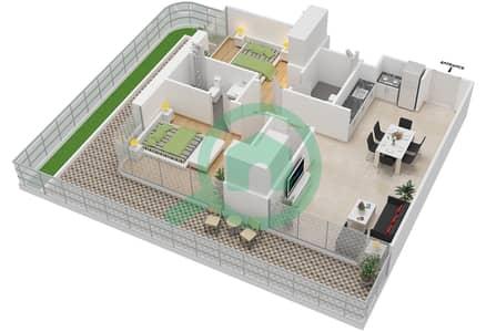 المخططات الطابقية لتصميم النموذج 1A شقة 2 غرفة نوم - عزيزي جراند