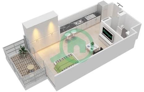 المخططات الطابقية لتصميم النموذج 2B شقة  - عزيزي جراند